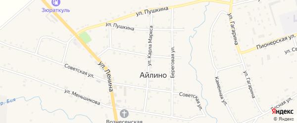 Улица Карла Маркса на карте села Айлино с номерами домов