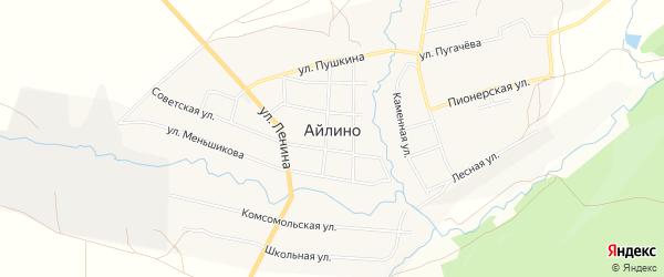 Карта села Айлино в Челябинской области с улицами и номерами домов