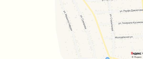 Улица Мажита Гафури на карте села Красной Башкирии с номерами домов