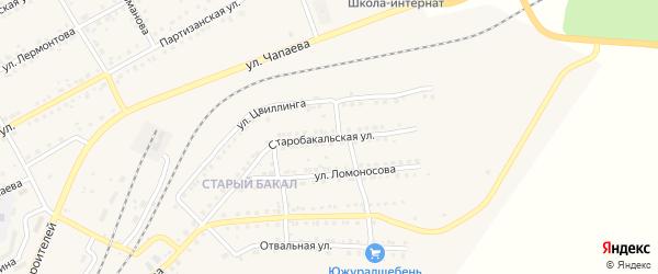 Старобакальская улица на карте Бакала с номерами домов