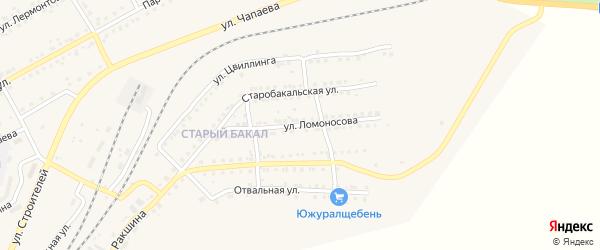 Улица Ломоносова на карте Бакала с номерами домов