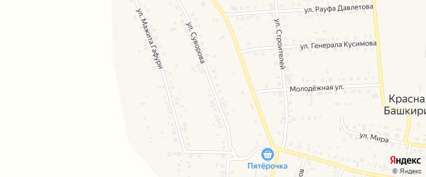 Улица Ивана Суворова на карте села Красной Башкирии с номерами домов