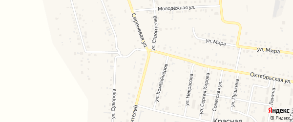 Улица Строителей на карте деревни Геологоразведки с номерами домов