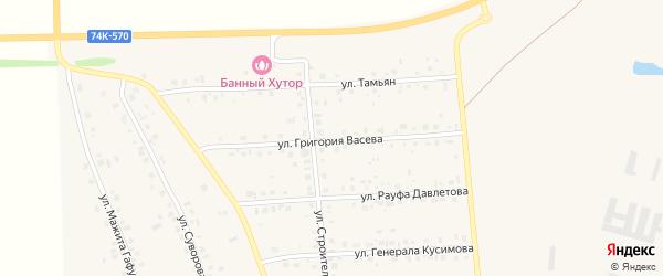 Улица Григория Васева на карте села Красной Башкирии с номерами домов