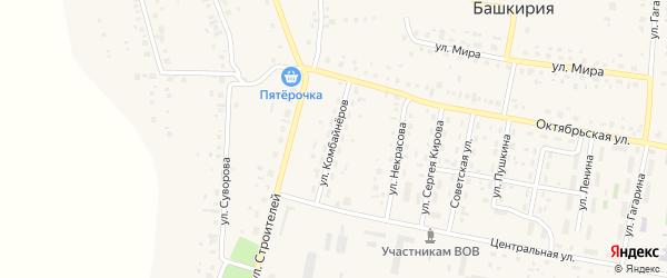 Улица Комбайнеров на карте села Красной Башкирии с номерами домов