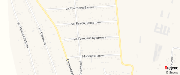 Улица Тагира Кусимова на карте села Красной Башкирии с номерами домов