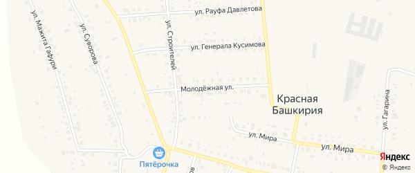 Молодежная улица на карте села Красной Башкирии с номерами домов