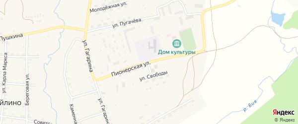 Пионерская улица на карте села Айлино с номерами домов