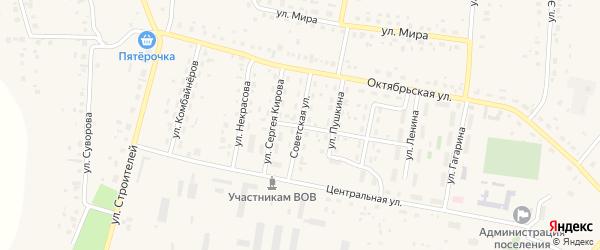 Советская улица на карте села Красной Башкирии с номерами домов