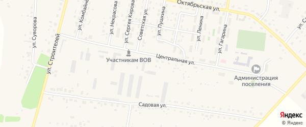 Шоссейная улица на карте села Красной Башкирии с номерами домов