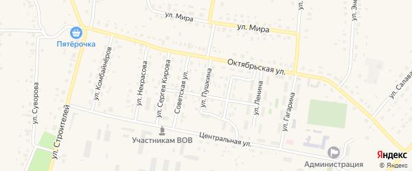 Улица Пушкина на карте села Красной Башкирии с номерами домов