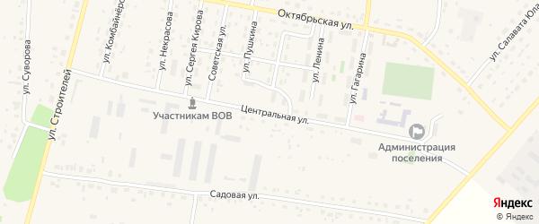 Центральная улица на карте села Красной Башкирии с номерами домов