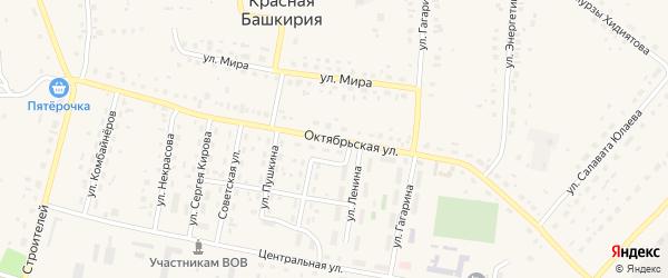 Октябрьская улица на карте села Красной Башкирии с номерами домов