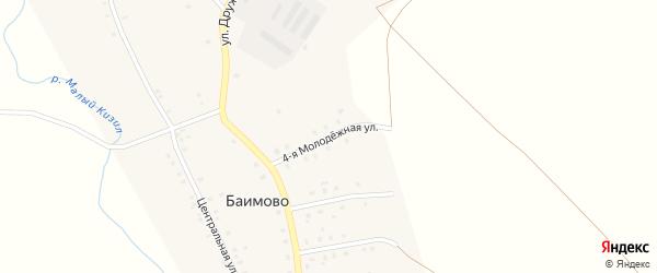 Молодежная 4-я улица на карте села Баимово с номерами домов