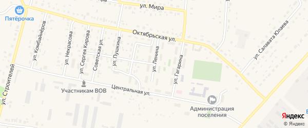 Улица Ленина на карте села Красной Башкирии с номерами домов
