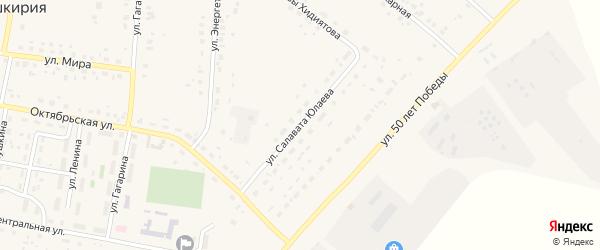 Улица Салавата Юлаева на карте села Красной Башкирии с номерами домов