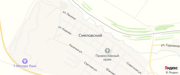 Карта Смеловского поселка в Челябинской области с улицами и номерами домов