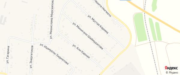 Улица Минигали Шаймуратова на карте села Красной Башкирии с номерами домов