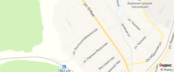 Улица Павлика Морозова на карте поселка Сулеи с номерами домов