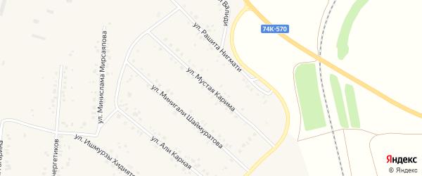 Улица Мустая Карима на карте села Красной Башкирии с номерами домов