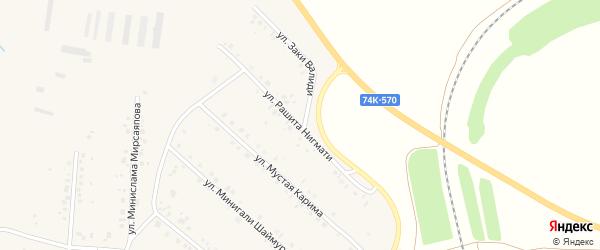 Улица Рашита Нигмати на карте села Красной Башкирии с номерами домов