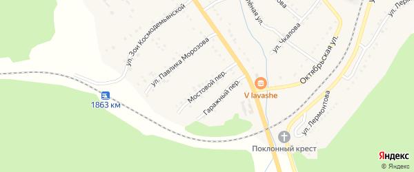 Гаражный переулок на карте поселка Сулеи с номерами домов
