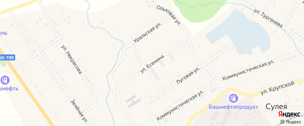 Улица Есенина на карте поселка Сулеи с номерами домов