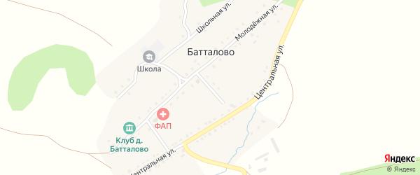 Переулок Салавата Юлаева на карте деревни Батталово с номерами домов