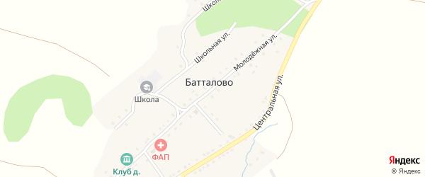 Молодежная улица на карте деревни Батталово с номерами домов