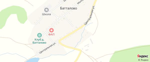 Центральная улица на карте деревни Батталово с номерами домов
