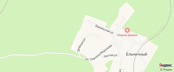 Зеленая улица на карте Ельничного поселка с номерами домов