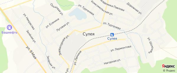 Карта поселка Сулеи в Челябинской области с улицами и номерами домов