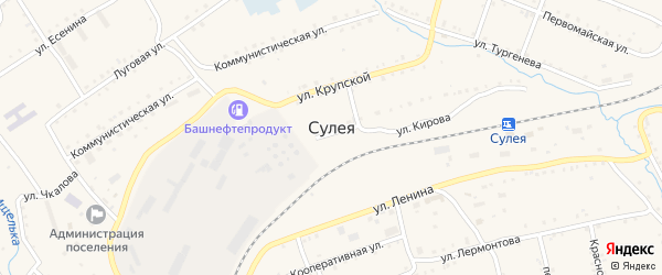 Кооперативная улица на карте поселка Сулеи с номерами домов
