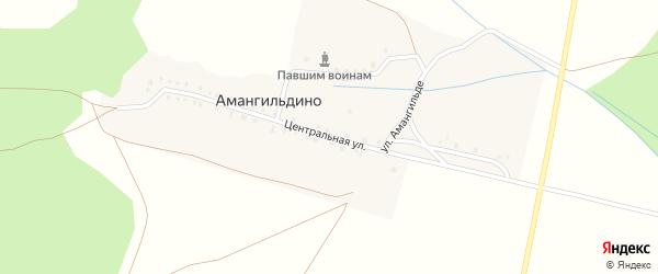 Центральная улица на карте деревни Амангильдино с номерами домов