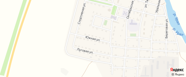 Южная улица на карте Сыртинского поселка с номерами домов