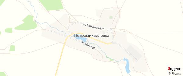 Карта деревни Петромихайловки в Челябинской области с улицами и номерами домов