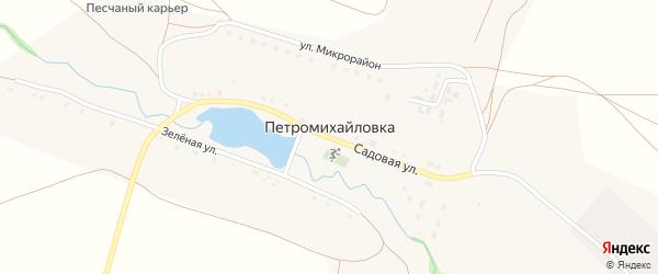Зеленая улица на карте деревни Петромихайловки с номерами домов