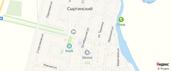 Октябрьская улица на карте Сыртинского поселка с номерами домов