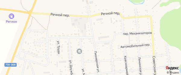 Переулок Механизаторов на карте Кизильского села с номерами домов