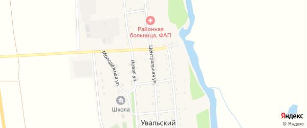 Центральная улица на карте Увальского поселка с номерами домов