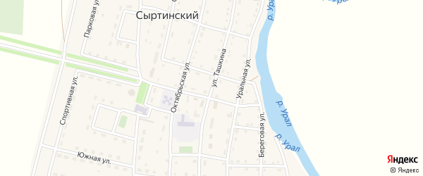 Улица Ташкина на карте Сыртинского поселка с номерами домов