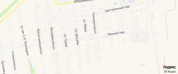 Южный переулок на карте Кизильского села с номерами домов