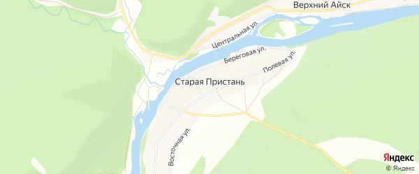 Карта деревни Старой Пристани в Челябинской области с улицами и номерами домов