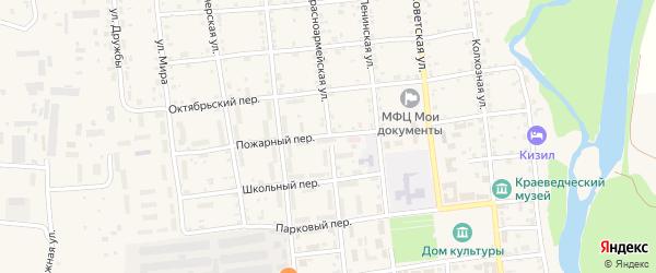 Пожарный переулок на карте Кизильского села с номерами домов