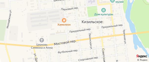 Комсомольская улица на карте Кизильского села с номерами домов