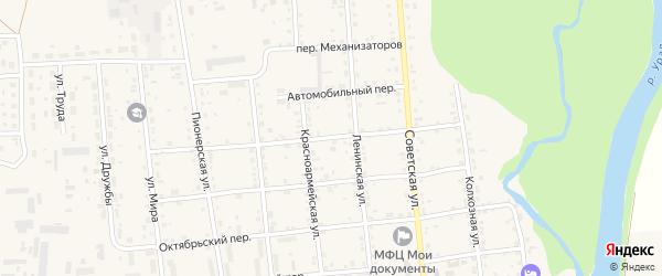 Пролетарский переулок на карте Кизильского села с номерами домов