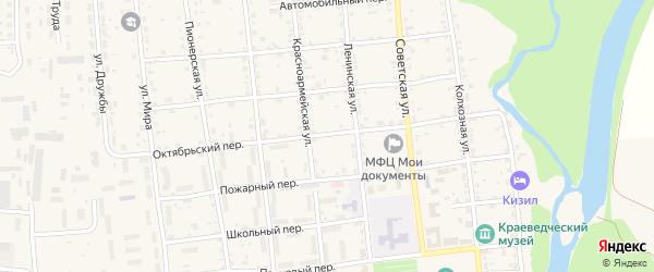 Октябрьский переулок на карте Кизильского села с номерами домов