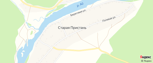 Полевая улица на карте деревни Старой Пристани с номерами домов
