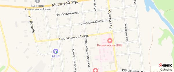 Партизанский переулок на карте Кизильского села с номерами домов