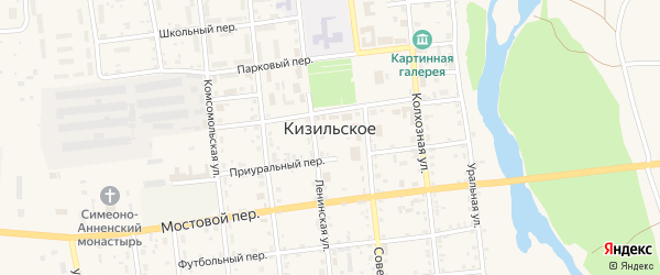 Сосновый переулок на карте Кизильского села с номерами домов